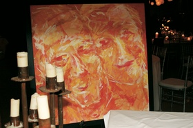 Painting of fall colors displayed at wedding reception