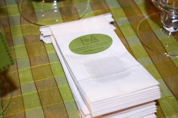 Dessert table white wedding favor bag with green custom label