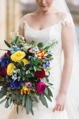 very colorful bouquet greenery dayton ohio wedding bride unique tropical ines di santo wedding dress