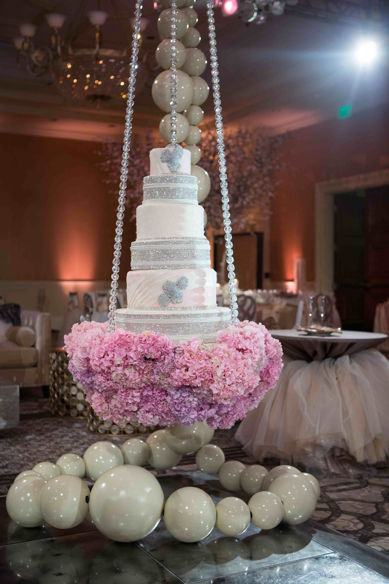 backyard wedding venues in orange county ca%0A     reception    Tamra Barney swinging wedding cake with crystals