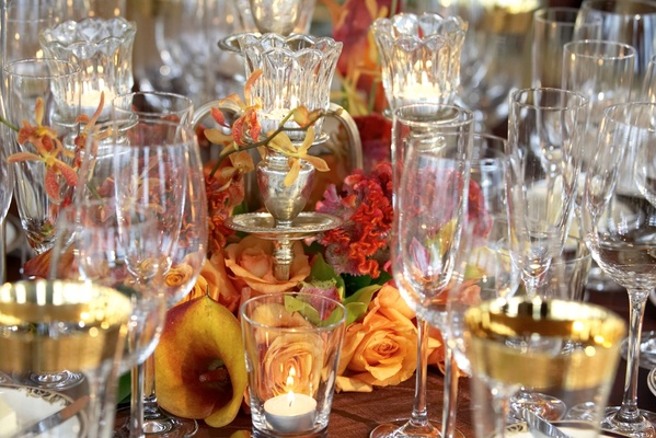 Close up of glassware and calla lily centerpiece
