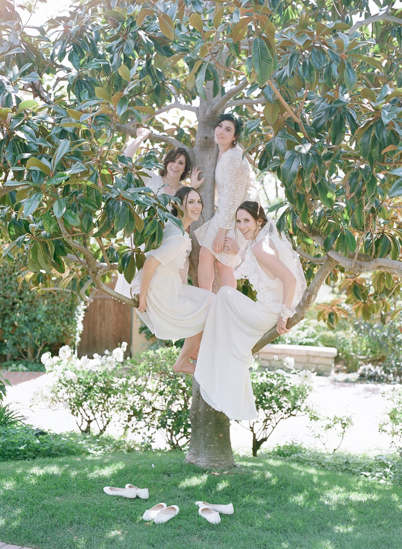 Lace bridesmaid dresses with bride in magnolia tree