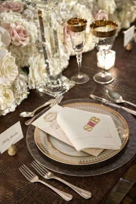 Crocodile print leather table mat gold pinecone place card holder white napkin with gold monogram