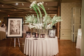 white calla lilies and orchids in modern display, bridal portraits, family wedding photos
