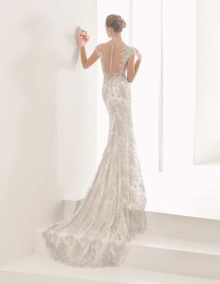 f084ba78f54 Rosa Clara Bridal Naia wedding dress with silver embroidery illusion back  cap sleeves slim fit.