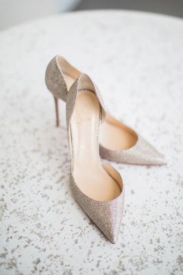 pointed-toe metallic christian louboutin wedding heels