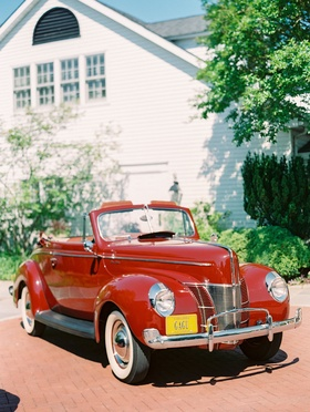 Wedding exit getaway car red 1940 Ford Deluxe car automobile restored antique vintage