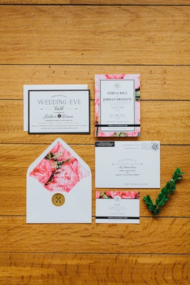 pink floral wedding invitation, pink peony lining of envelope