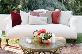 lounge area for california fall wedding, sofa with rug
