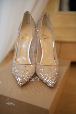 Pointy toe pumps with illusion crystal details Christian Louboutin