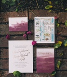 watercolor invitations with burgundy, save the date with watercolor map