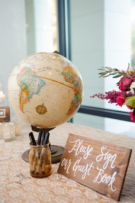 Wooden sign with white calligraphy next to globe