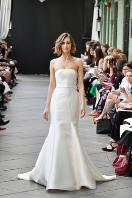 e4f68ee6d3080 Nouvelle Amsale spring 2019 bridal collection wedding dress Kielle strapless  fit and flare gown.
