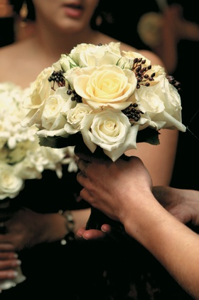 White and black flower arrangement