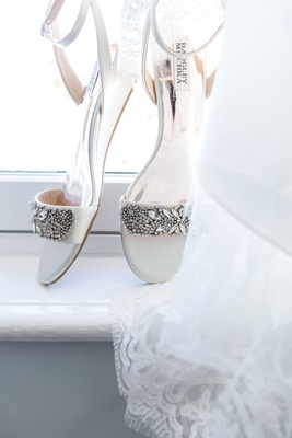white wedding shoes with jewel rhinestone crystal toe strap and ankle strap white wedding heels