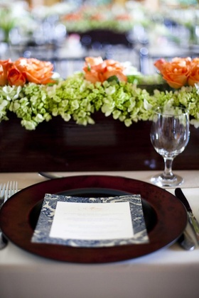 Wood box centerpieces and paisley menu
