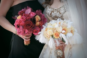 Bouquet for bridesmaids and bride in different colors