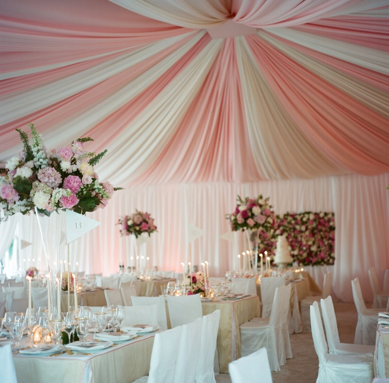 Romantic Table Decor Under Pink And White Tent