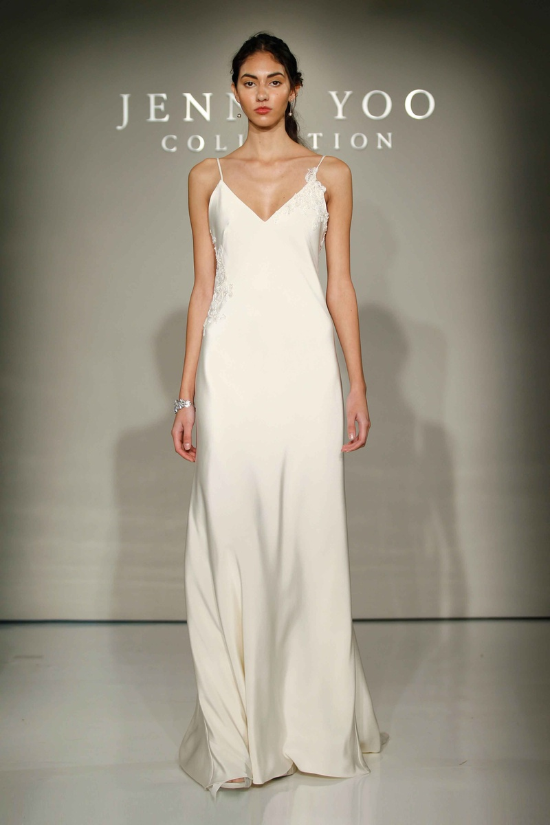 celine bridal crepe wedding dress with spaghetti straps and