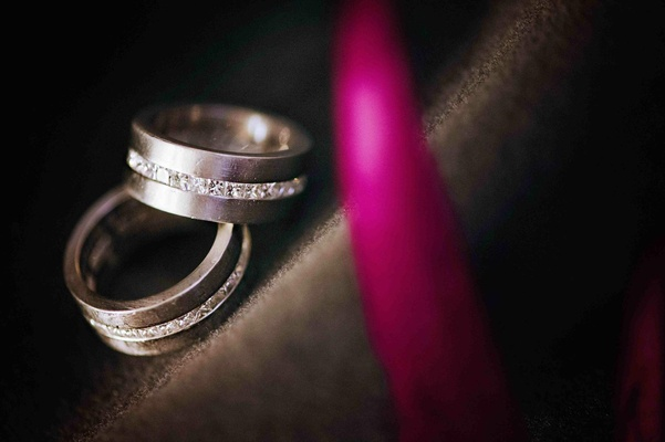Gay wedding rings with diamond center stripe