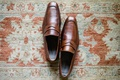 Groom's dress shoes in dark brown sienna color