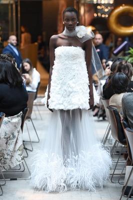 Sachi & Babi Spring/Summer 2018 Strapless mini-dress silk ostrich feather tulle skirt length