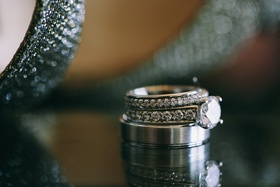 Stacked wedding rings with channel-set diamonds