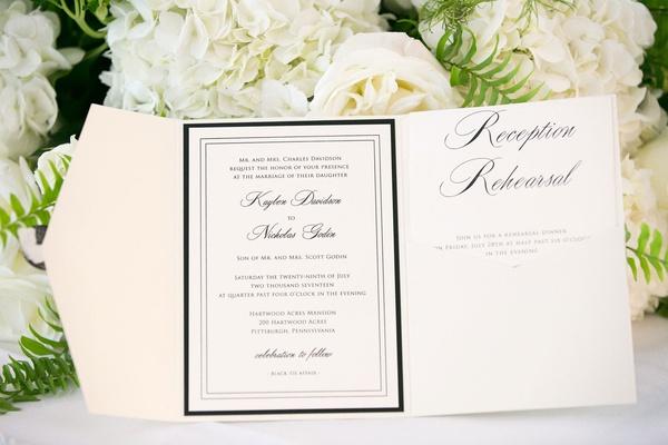 Wedding invitation black and white ivory reception rehearsal wedding invite