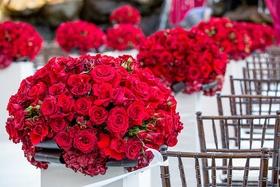Crimson roses and hydrangeas on white pedestals