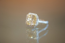 Joanna Krupa's halo engagement ring with yellow diamond