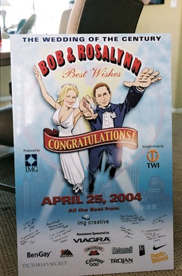 Rosalynn Sumners and Bob Kain caricature on wedding poster