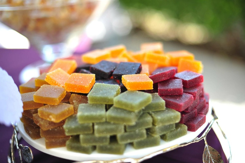 Yellow, green, red, and orange pate de fruit