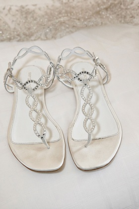 Bride's Sergio Rossi whte sandals with crystals