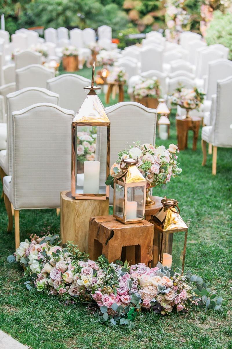 Ceremony Décor Photos - Wood Tables & Lanterns at Ceremony - Inside ...
