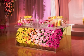 wedding reception yellow orange pink flowers in lucite table multicolored wedding reception decor