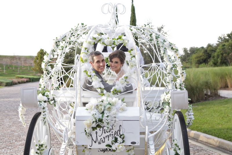 Horse-drawn buggy with flowers and Just Married sign