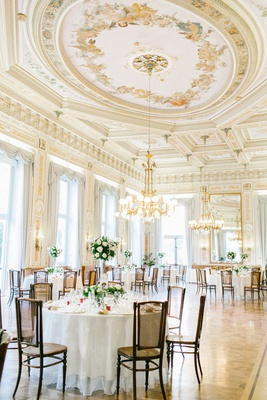 wedding reception at Grand Hotel Villa Serbelloni in Lake Como italy classic decor painted ceilings