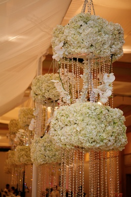 Tent wedding chandelier with crystals and flowers
