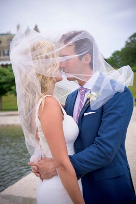 Montreal Canadiens hockey player Brian Flynn with wife in Isoude, covered with veil