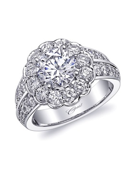 Romance collection floral ring with two rows of diamonds