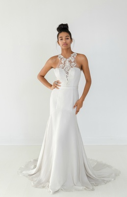 53b715cad619 Ivy & Aster Fall 2018 silk chiffon fit-and-flare, racer cut embroidered