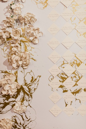 white and gold escort card display seating charge told foil flower design white background
