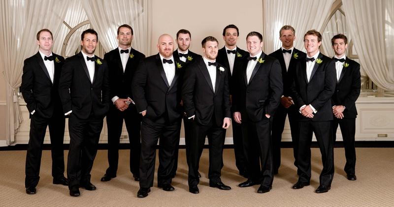 Hockey player Brett Sterling and his groomsmen