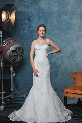 Sareh Nouri fall 2019 bridal collection wedding dress Cameron, lace trumpet gown mikado sweetheart