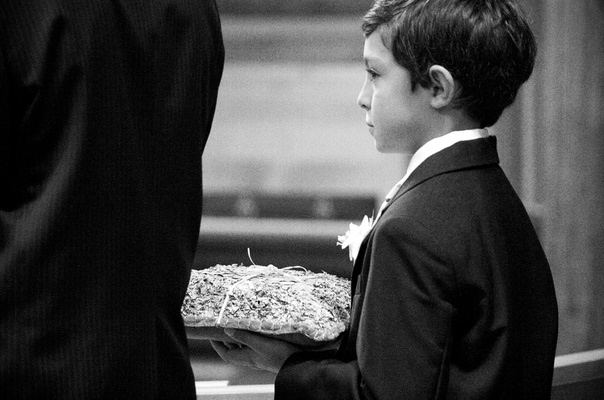 Black and white photo of ring bearer pillow