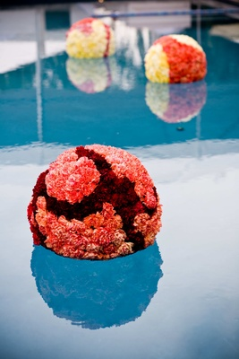 round red floral arrangements floating in swimming pool
