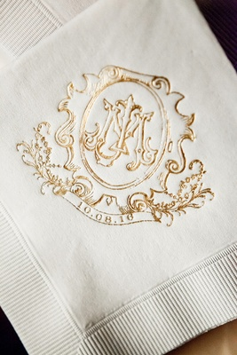 nico & lala custom monogram with wedding date on cocktail napkin
