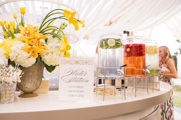 Wedding reception infused water station ideas