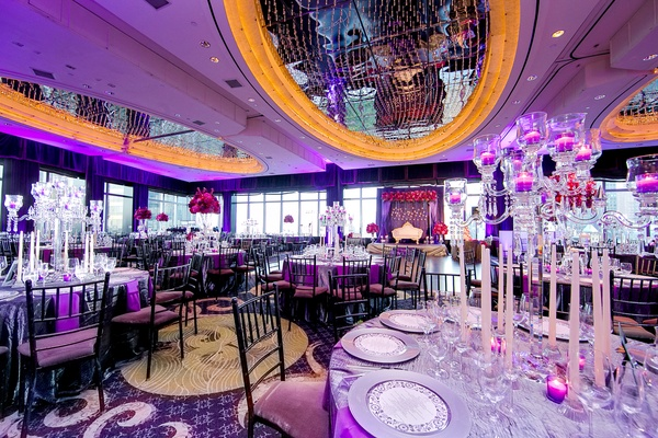 Vibrant indian wedding with purple details in new york city purple decorated wedding at the mandarin oriental new york junglespirit Choice Image