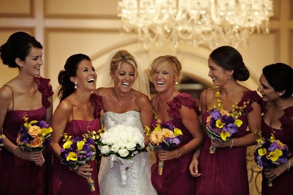 bride in anne barge, bridesmaids in amsale, bright boquets
